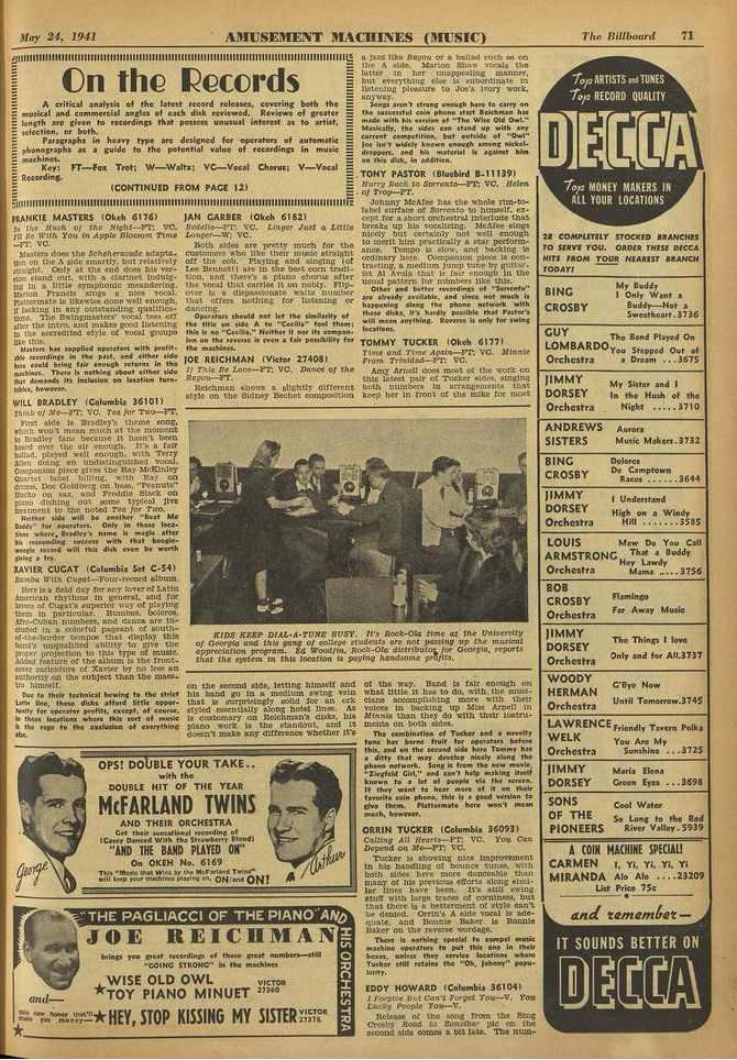 May 24, 1941 AMUSEMENT MACHINES (MUSIC) lac Billboard 71 _111111111111111111111111111111 IIIIM1111111111111111111111111111111111111111111111111111111111111111111.