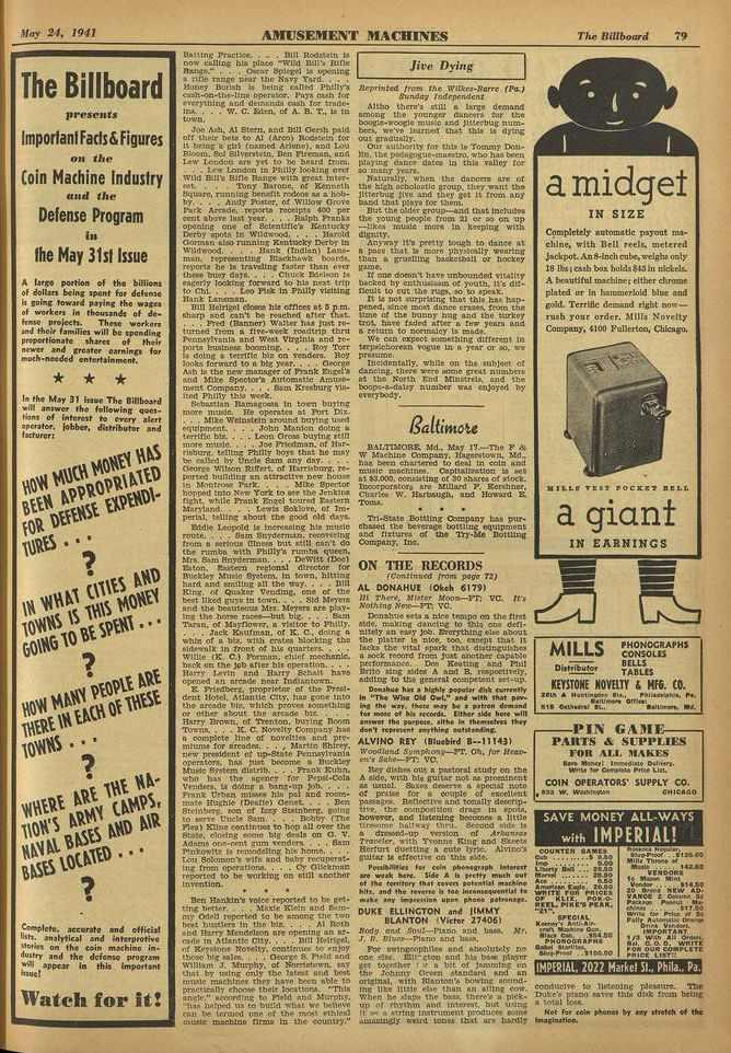 {hr-' 24, 1941 AMUSEMENT 111ACIIINTS The Billboard 79 The Billboard presents ImportantFacts&Figures OH lite (oin Machine Industry and Mr Defense Program ill the May 31st Issue A Logo portion of the