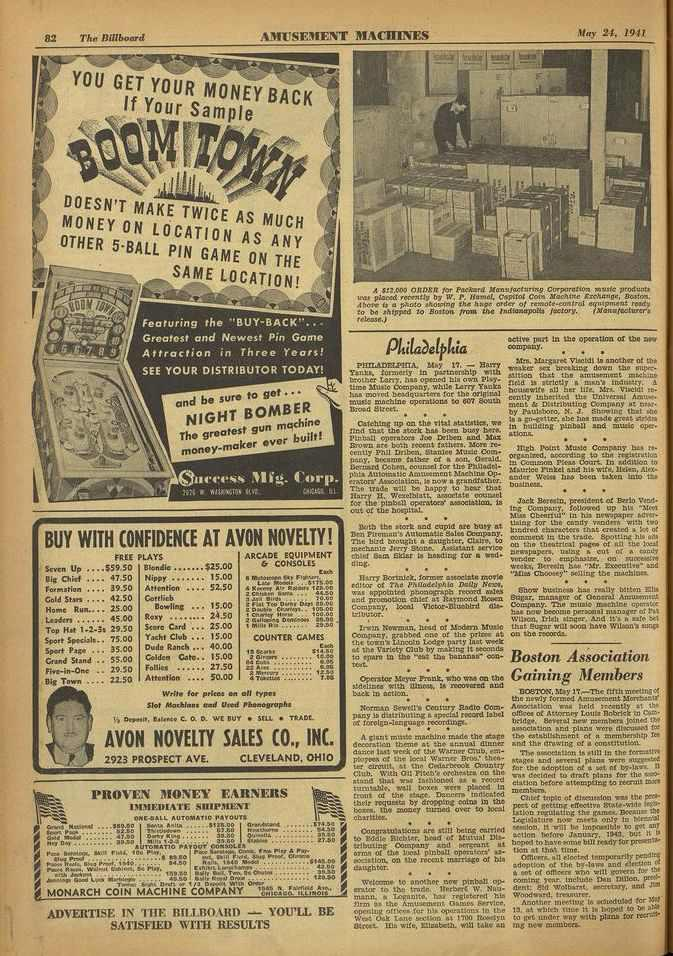 82 The Billboard AMUSEMENT MACHINES May 24, 1941 i n Y0 U YOURGiEfTy0ur Sample Y BACK ; DOESN'T MAKE TWICE AS MUCH MONEY ON LOCATION AS ANY OTHER 5 -BALL PIN GAME ON THE SAME LOCATION!