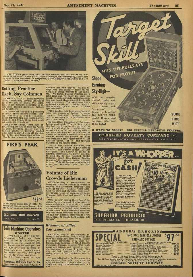 AMUSIIIIIANT Ifrry 24, 1941 AMUSEMENT MACHINES The Rillboard 85 ARE LYMAN plays Scientific's Batthe7 Practice end bar one of the mechin...3 In hit home.