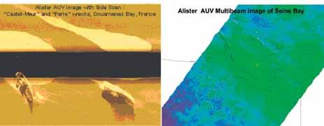 sounder (SBES) Fig. 14, 15 and 16: AUV Alister and its sensors for accurate seafloor survey.