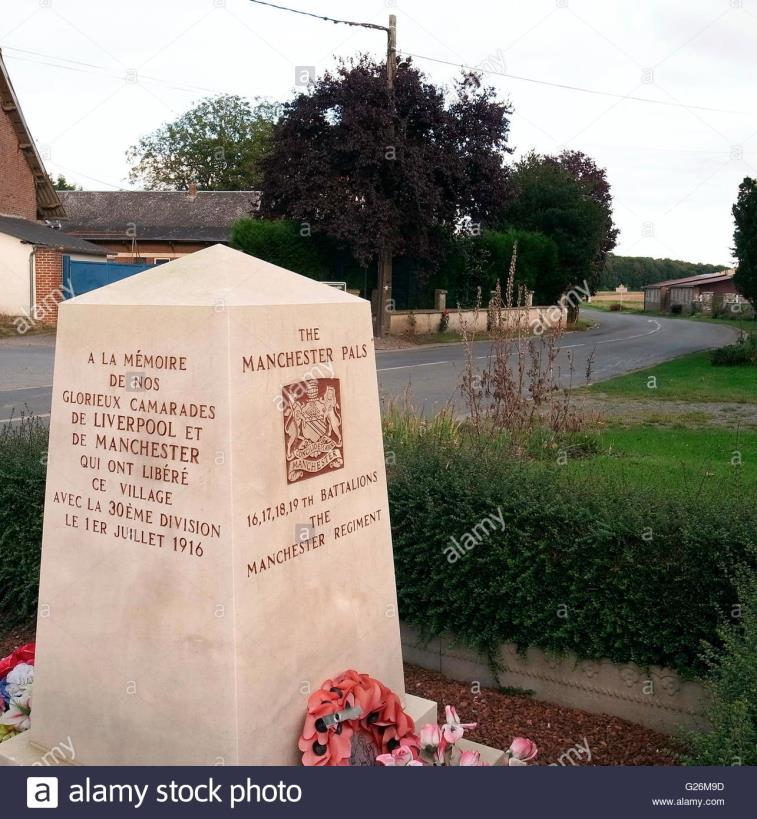 12 P a g e Memorial to the Liverpool and Manchester Pals who took Montauban on that day: On the evening of 8 th July 1916 the Battalion arrived in Cambridge Copse and was ordered to attack Trones