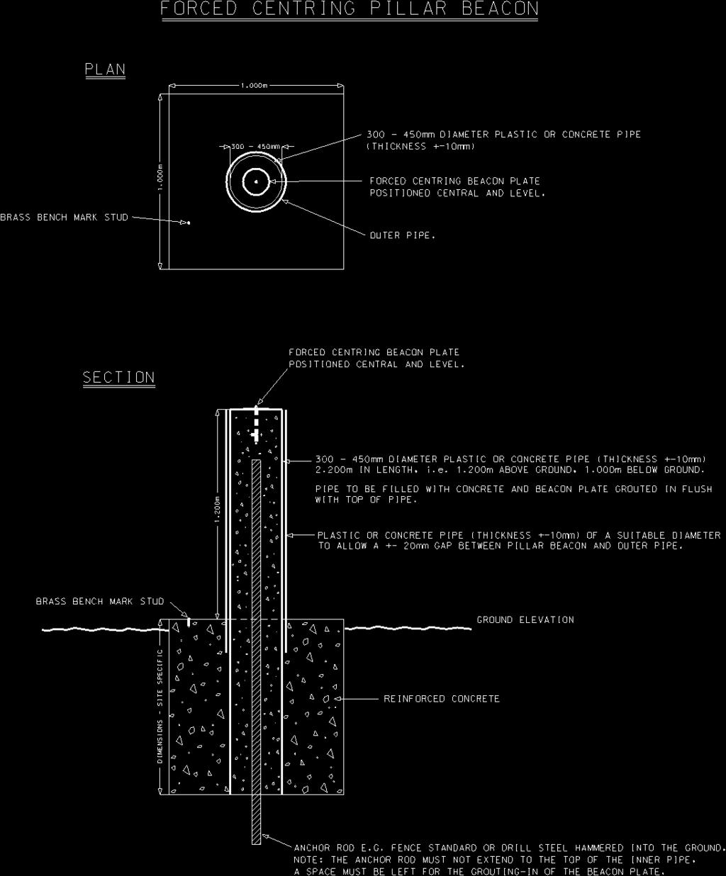 Figure 11 shows a typical forced centring pillar beacon design. It must be noted that the design of the pillar beacon foundation is site specific with regard to dimension specifications.