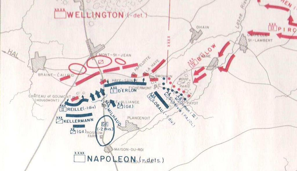 Figure 22: Waterloo 1:30 p.m. The main French attack started at 1:30 in the afternoon on the enemy s left flank.