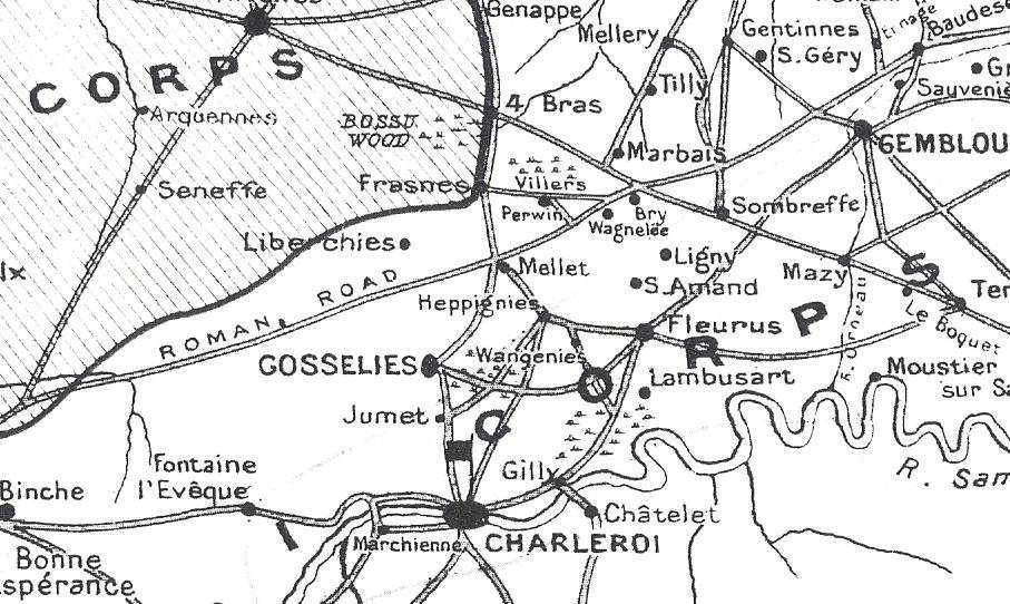 Figure 14: Charleroi to Ligny and Quatre Bras THE ADVANCE NORTH FROM CHARLEROI Napoleon ordered the army to move out of Charleroi to attack the Allies in two columns, one under the command of Ney on