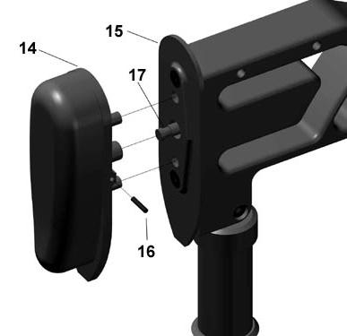 Fig 27 Fig 28 5. Before installing the recoil pad (item 14) shown in Fig 27, the pin (item 17) is adjustable for a softer or firmer feel. Insert a 3/32 Allen wrench into end of pin (item 17).