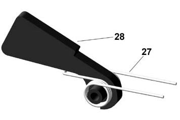 Install the trigger and trigger spring (item 29) into the lower receiver (item 30) as shown in Fig 32. Make sure the spring legs face muzzle end.