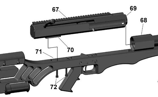 Fig 42 26. Install bolt carrier (item 67) into barrel extension (item 68) and lower receiver (item 71) as shown in Fig 42. 27.