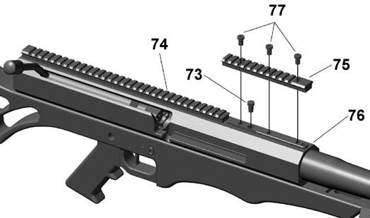 Tilt bolt carrier back to a horizontal position and insert carrier key (item 70) into lower receiver. It may be necessary to gently tap carrier with a non-marring hammer to seat key fully. 29.