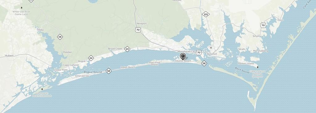 AREA DETAILS Atlantic Beach anchors the eastern end of Bogue Banks, a 22-mile stretch of barrier islands accessed by bridge from Morehead City, North Carolina.
