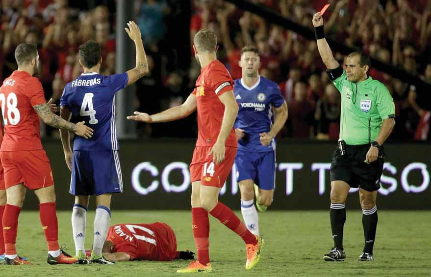 4 FOOTBALL Fabregas sees red as Chelsea beat Liverpool 1-0 I know Fabregas is a good man, a good boy and is not a player to have this type of situation.