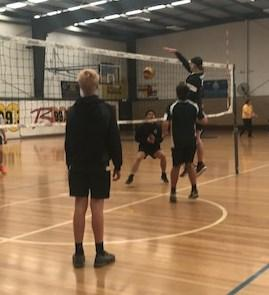 The boys worked on their 3 hit options, blocking at the net and spiking.