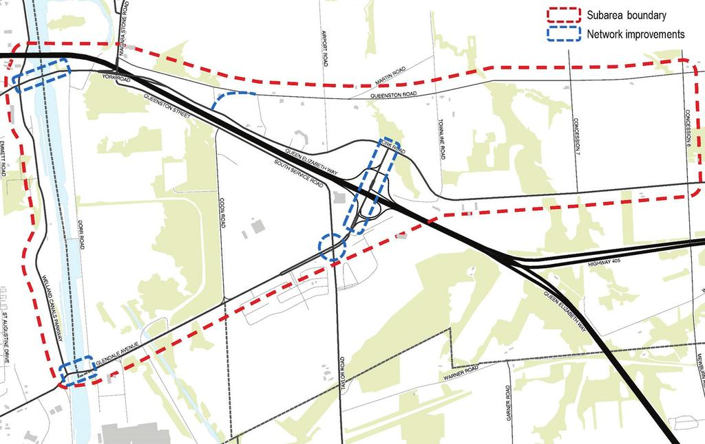 Scenarios: - Queenston Rd re-alignment / new terminus at York Rd / Coon Rd for Skyway Bridge