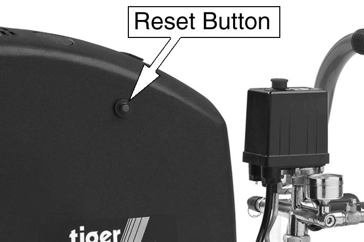 Close the drain valve when the reservoir has fully drained. RESET BUTTON This compressor has a thermal overload device.