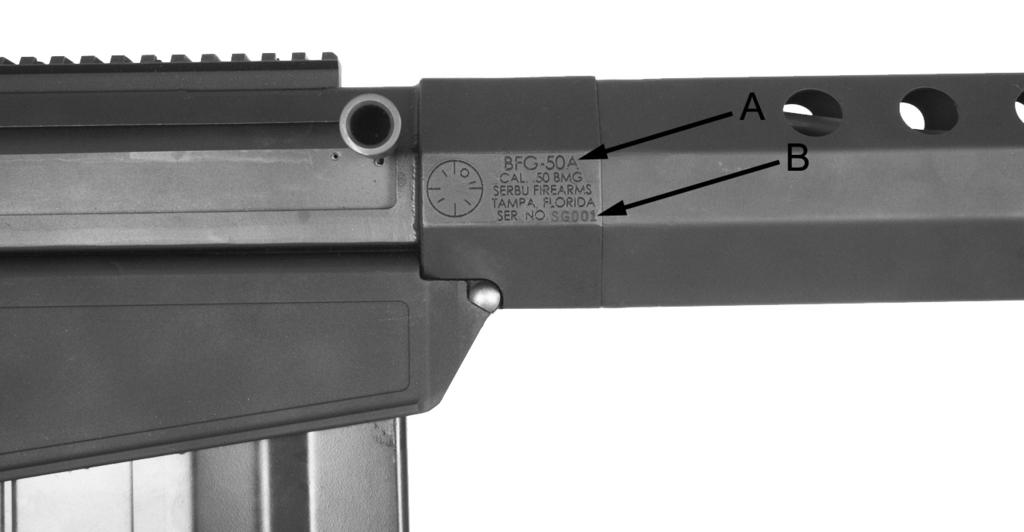 IDENTIFICATION Model and Serial Number The serial number (B) and model number (A) are located on the right side of the firearm.