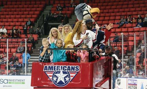 At every home game, a large number of fans are wearing Americans tee-shirts, sweaters, hats and other items, and they may also be carrying merchandise such as hockey sticks, pucks and blankets.
