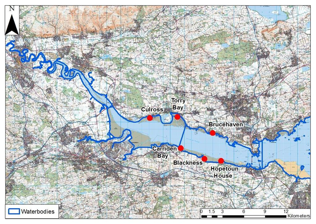 Figure 10: The Forth Estuary showing sites surveyed within each different waterbody Figure 11, shows the information collected by SEPA staff at Carriden bay.