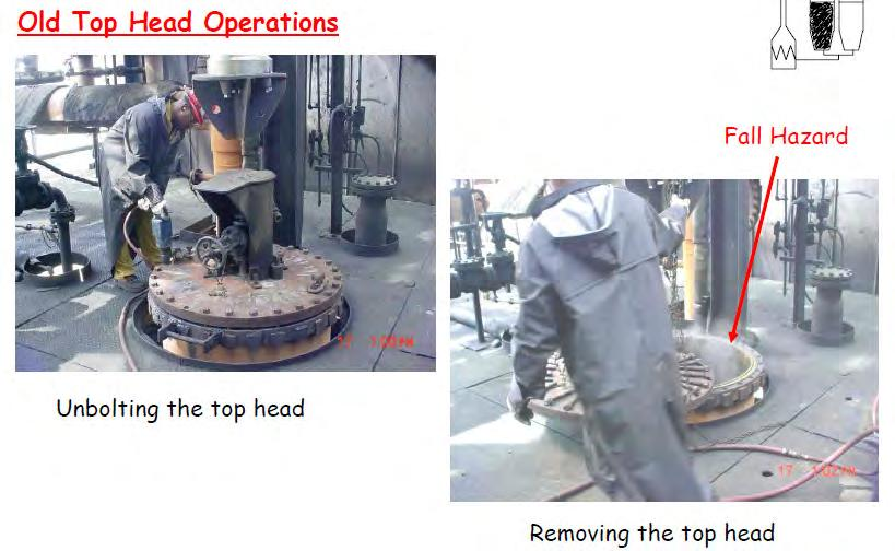 Evolution of Facilities: (1) Manually Bolted Top Head Flange Plate at the level of the cutting deck