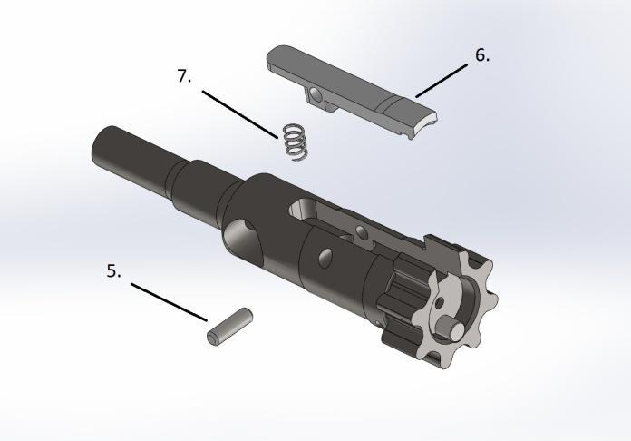 Pull the firing pin (2) out of the bolt carrier. b. Remove bolt cam (3), noting the orientation of the large radius corner. c. Pull bolt (4) out from the front. d.