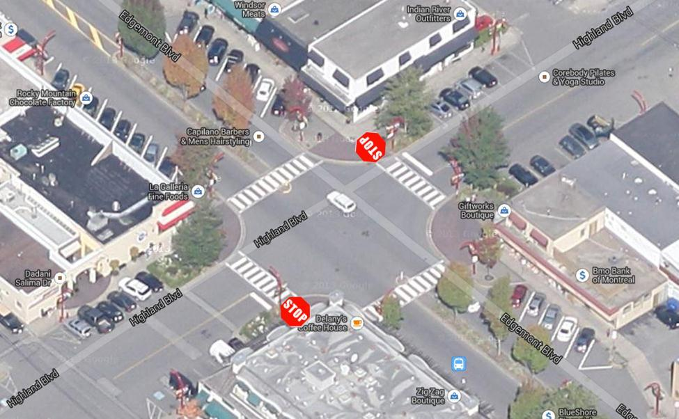 3.2.2 Edgemont Boulevard & Highland Boulevard This intersection is a two-way stop intersection with the priority given to vehicles traveling on Edgemont Boulevard.