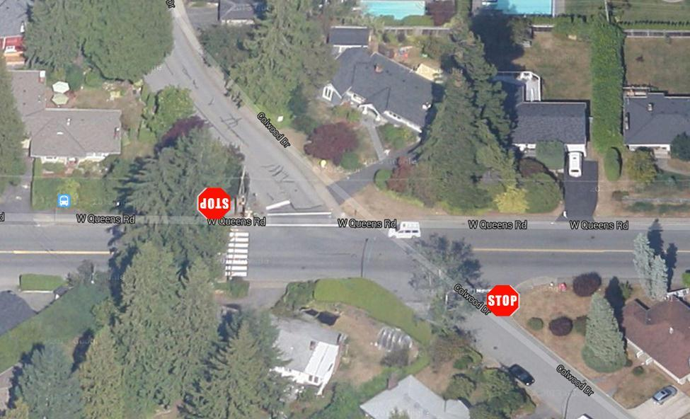 3.2.5 Colwood Drive & West Queens Road This intersection is a two-way stop intersection with the priority given to vehicles traveling on West Queens Road.