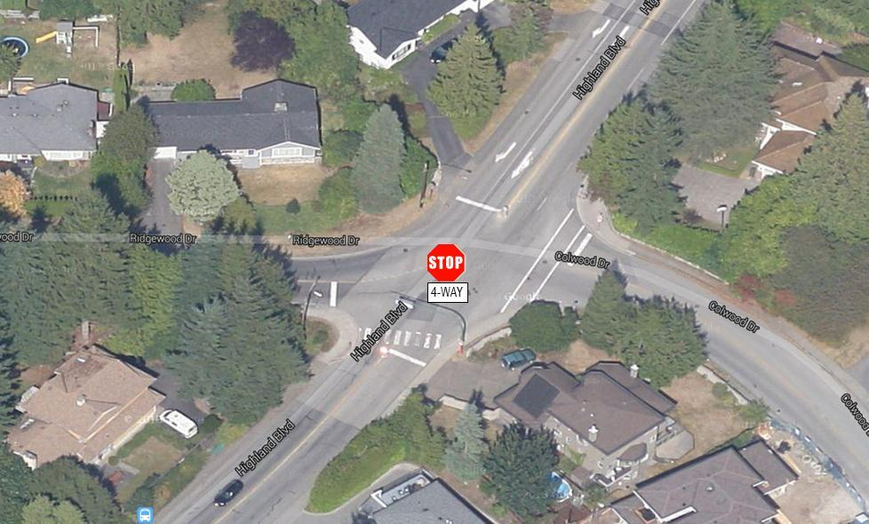 3.2.6 Ridgewood Drive & Highland Boulevard Highland Boulevard and Ridgewood Drive is a four-way stop intersection. Ridgewood Drive becomes Colwood Drive on the east side of the intersection.