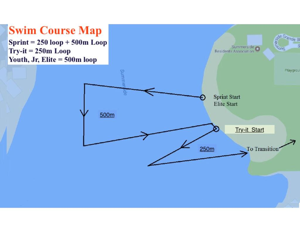Course Maps/Routes Swim Course 750m - two loops 1 large loop of the top triangle course, in a counter-clockwise direction, followed by 1 small loop of the bottom triangle course, also in a