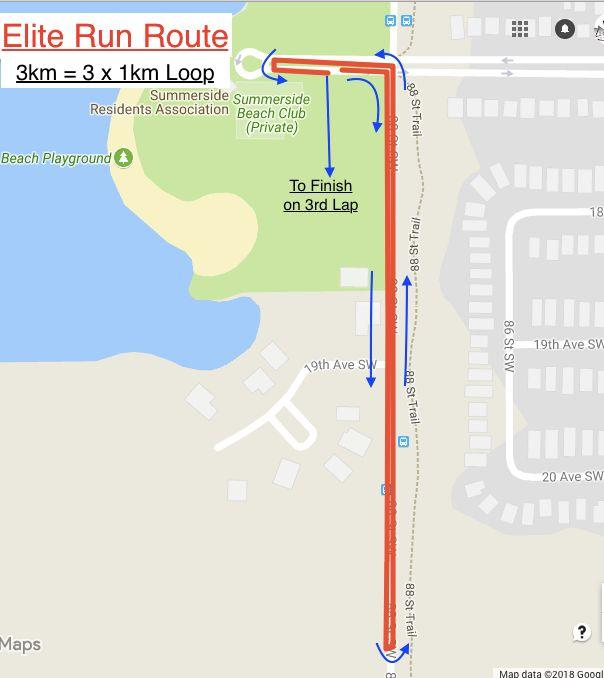 Run Course 5km -- 3 laps Leaving T2, athletes will turn right and travel southbound on 88th St.