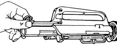 6. Pull the bolt out to the unlocked position. The carrier will not go into the upper if the bolt is pushed into the carrier. 7. Position the charging handle in the upper. 8.