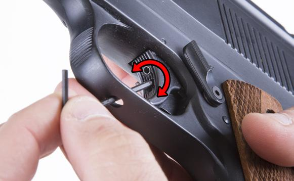 7 TRIGGER ADJUSTMENT P1 and P11: To adjust trigger-pull weight, insert 2mm Allen wrench through access hole in the grip heel until it engages the adjustment screw inside the pistol grip.