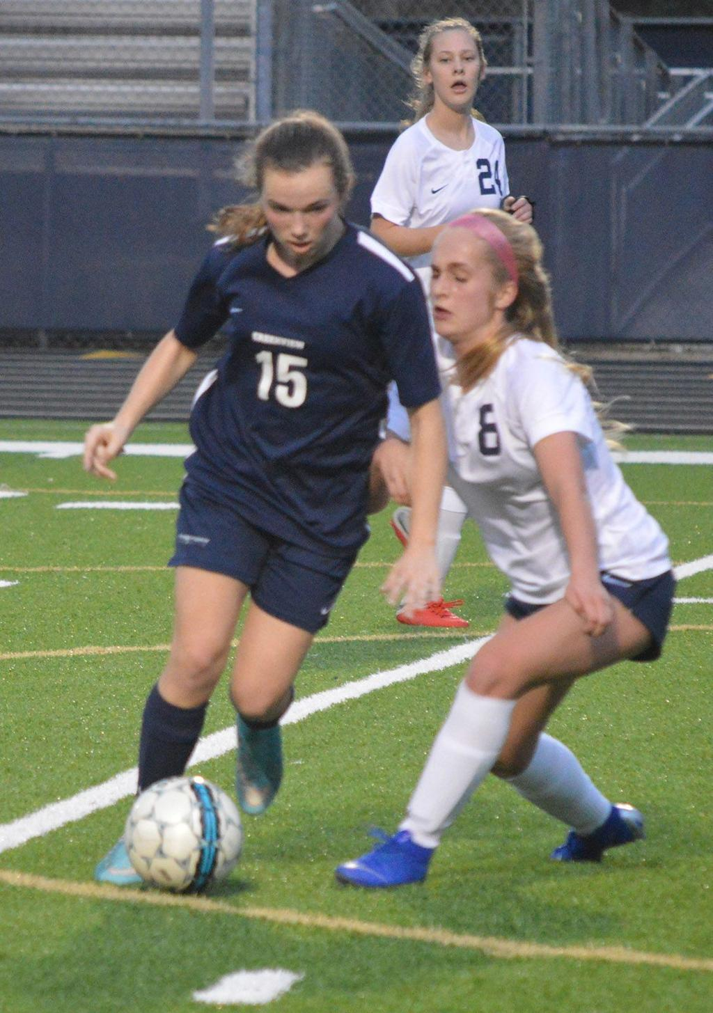 Girls Varsity Soccer (3/1) The Lady Knights played tough against Creekview, holding them to the