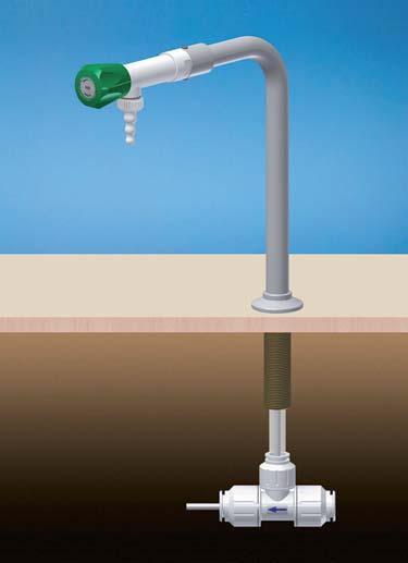 295 PP RECIRCULATING BIB TAP, REMOVABLE NOZZLE, BENCH MOUNTED, PE LINED COLUMN, DN2O PUSH-FIT PE INLET, SPECIAL WATER PE-X ø 2O EN15875 Designed for applications