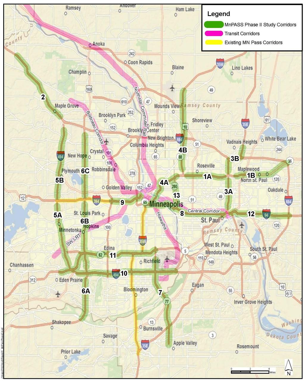 Potential MnPASS Corridors 1. TH 36: I-35W to I-694 2. I-94: TH 101 to I-494 3. I-35E: I-94 to CR E 4. I-35W: Minneapolis to Blaine 5. I-494: TH 212 to I-94 6. TH 169: TH 101 to I-94 7.