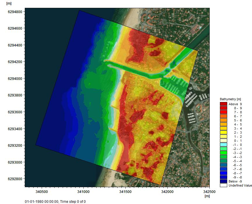 Examples Figure 4.19 Domain and bathymetry for Capbreton harbour 4.5.3 Model results The Capbreton example runs for about 30 minutes using a 3.