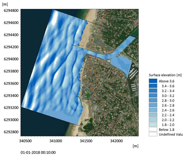 Coastal Flooding in Capbreton Figure 4.20 Model result: 2D visualisation of the instantaneous surface elevation after 10 minutes. Figure 4.21 shows a 3D visualisation of the simulated instantaneous surface elevation.