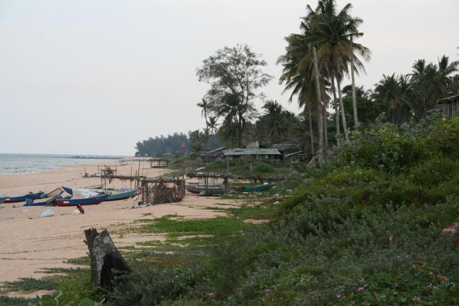 Photo 2.1: Kuala Abang, Terengganu. A fishing village situated mid-way down the coast of Terengganu. Small fishing boats are hauled on to the beach and tethered to stakes near the edge of the village.