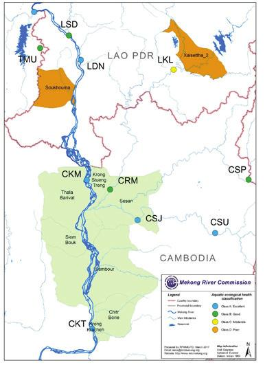 Figure 4: Aquatic Ecological Health Sites in the Mekong and Sekong Project Area 1 1 The aquatic ecological health sites were selected as biomonitoring sites that support the Mekong River Report Card