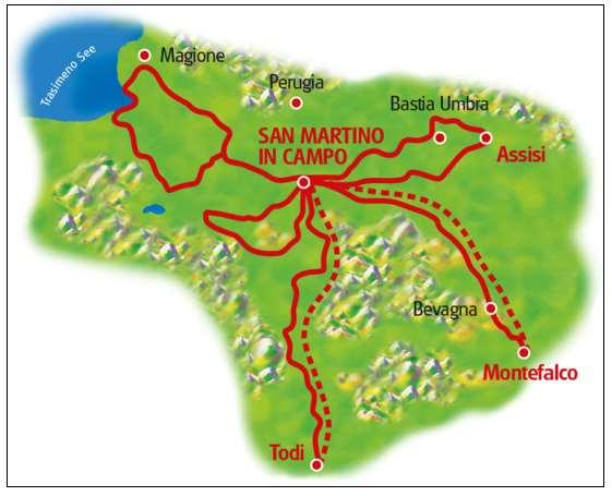 Route Technical Characteristics: Route Profile: On the stages to Lake Trasimeno and to Todi there are several longer ascents.