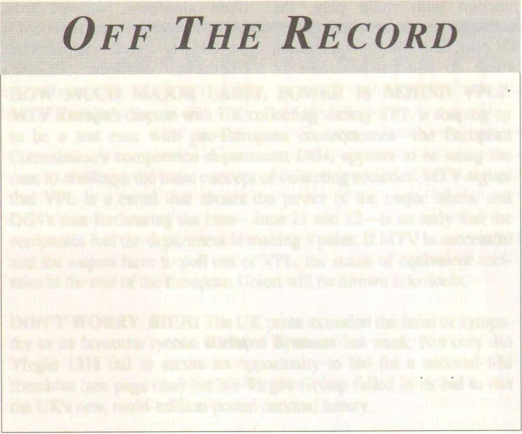 AmericanRadioHistory.Com OFF THE RECORD HOW MUCH MAJOR LABEL OWER IS BEHIND VL?