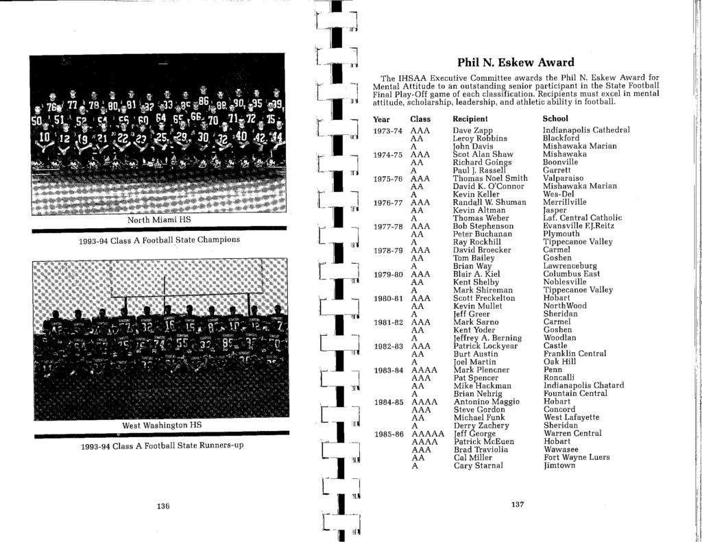 ---------------- -. 1.- r_i1 :J 1993-94 Class A FootbaUState Champions West Washington HS 1993-94 Class A Football State Runners-up 136 ti] Phil N.