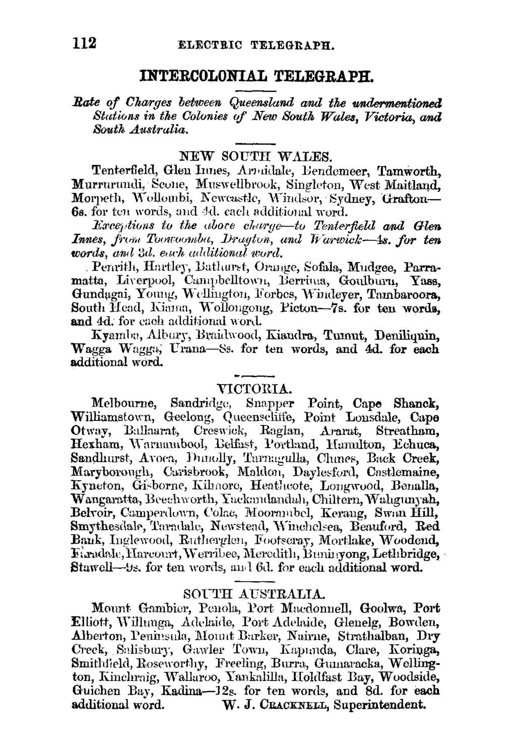 112 ELECTRIC TELEGEAPR. INTERCOLONIAL TELEGRAPH. -Rate of Charges between Queensland and the undermentioned Stations in the Colonies of New South Wales, Victoria, and South Australia. NEW SOUTH WALES.
