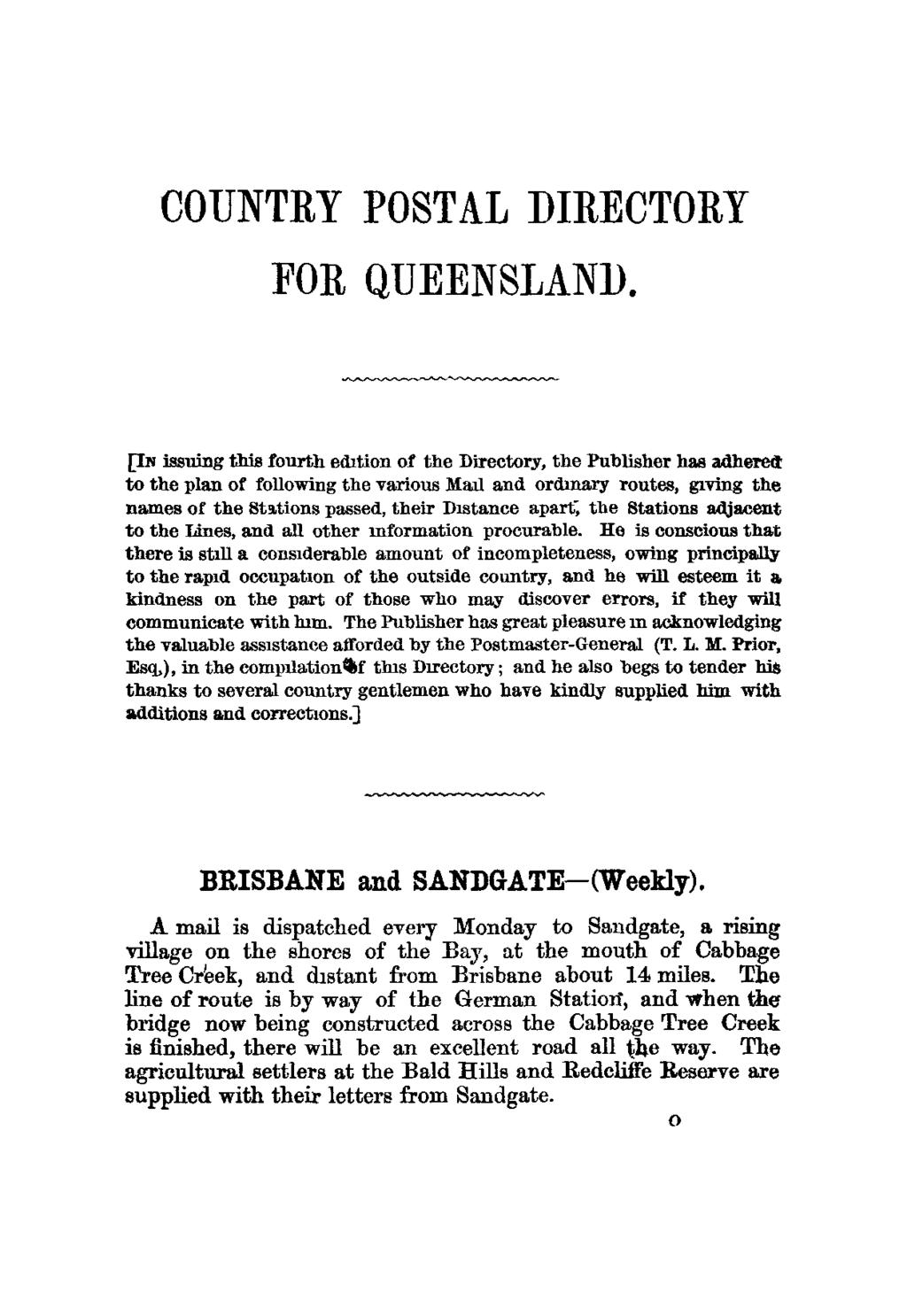 COUNTRY POSTAL DIRECTORY FOR QUEENSLAND.