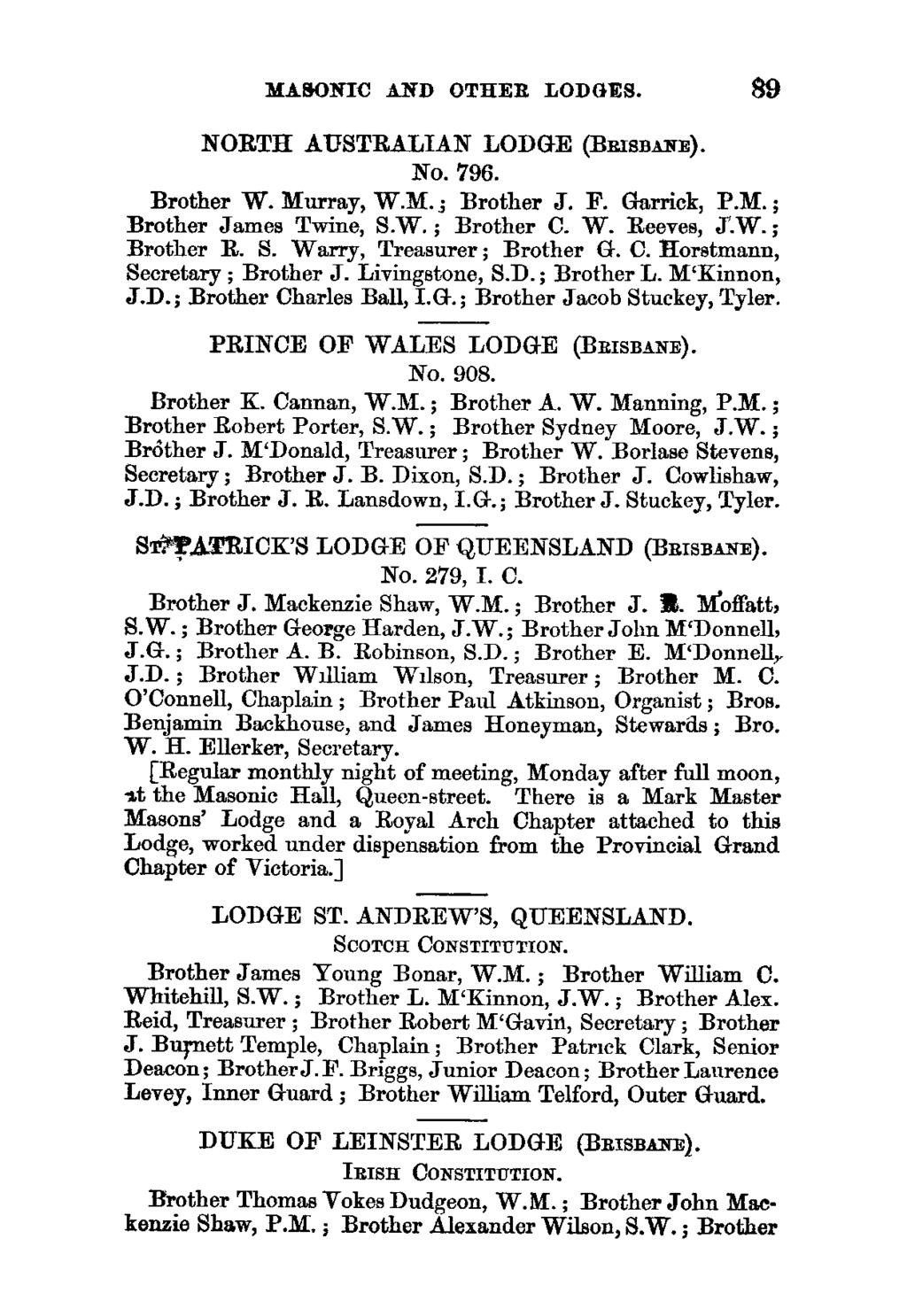 MASONIC AND OTHER LODGES. 89 NORTH AUSTRALIAN LODGE (BRISBANE). No. 796. Brother W. Murray, W.M.; Brother J. F. Garrick, P.M.; Brother James Twine, S.W.; Brother C. W. Reeves, J.W. ; Brother R. S. Warry, Treasurer ; Brother G.