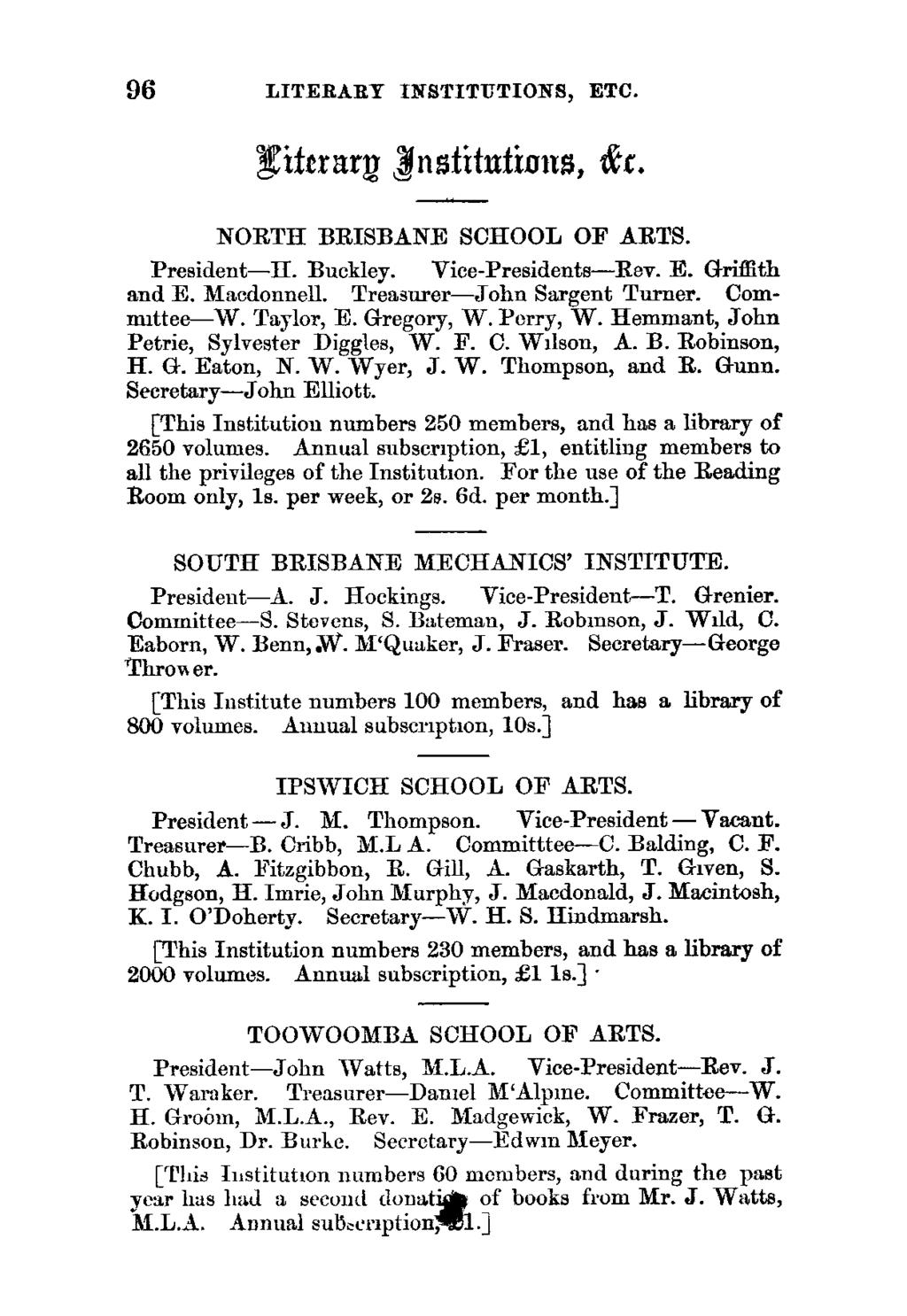 96 LITERARY INSTITUTIONS, ETC. Nittrar 'nstitutiains, tr. NORTH BRISBANE SCHOOL OF ARTS. President-H. Buckley. Vice-Presidents-Rev. E. Griffith and E. Macdonnell. Treasurer-John Sargent Turner.