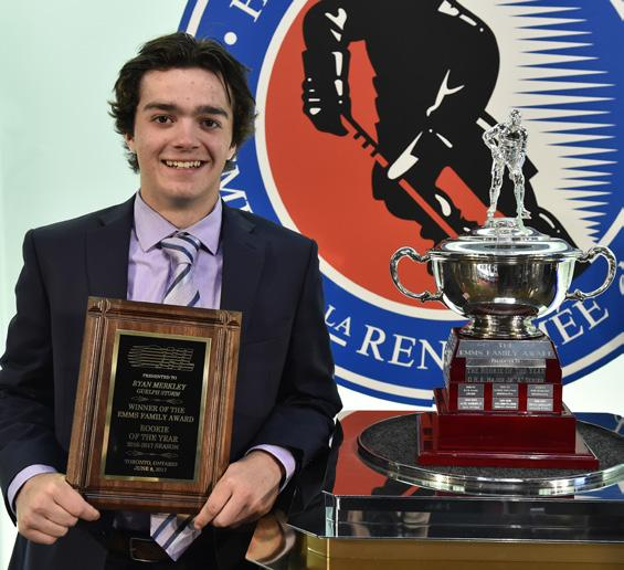 Emms Family Award (Rookie of the Year) RYAN MERKLEY GUELPH STORM Ryan Merkley led all OHL rookies with 55 points in 6 games played scoring goals and 43 assists positioning him eighth overall among
