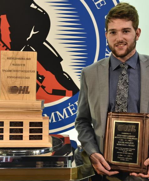 attending high school. The awards are presented annually along with the Bobby Smith Trophy, which is awarded to the OHL player that best combines hockey and education.