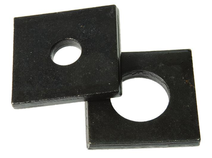 Square Washers & Flange Washers Square Flat Washers Metric Used for shimming machinery, construction applications, utility and pole line hardware applications, for wood hardware applications, and