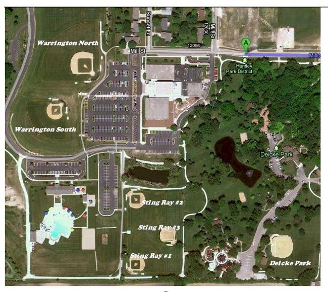 Field Locations: Warrington and Stingray Bay Facility (Huntley Park District) 12015 Mill Street OR 12219 Louis Lane